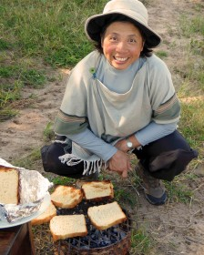 Theresa enthusiastically making bush toast each morning