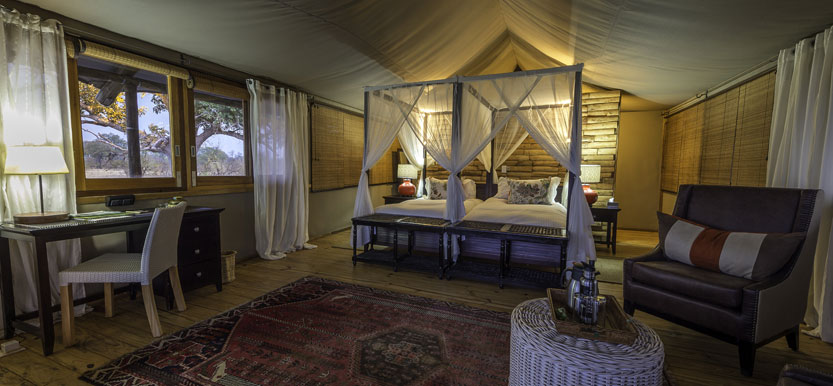Safari tent at Toko Leya, Livingstone in Zambia